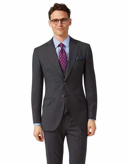 Grey check slim fit Italian suit jacket