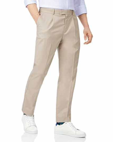 Stone single pleat non-iron chinos