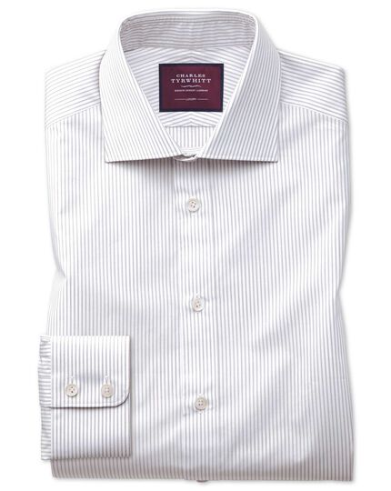 Classic fit grey stripe luxury shirt