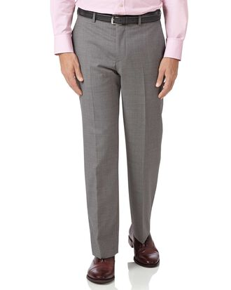 Silver classic fit cross hatch weave italian suit trousers