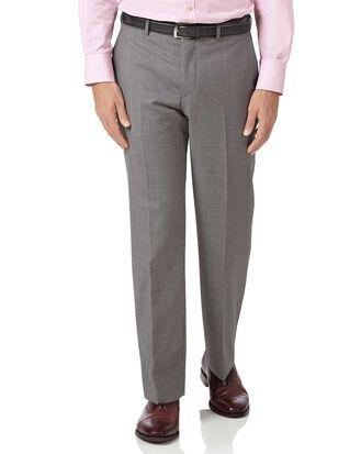 Silver classic fit cross hatch weave italian suit pants