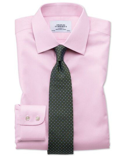 Slim fit non-iron puppytooth light pink shirt