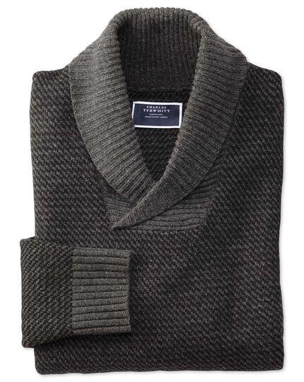 Charcoal shawl collar jacquard sweater