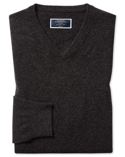 Charcoal cashmere v neck sweater