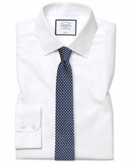 Extra slim fit non-iron dash weave white shirt