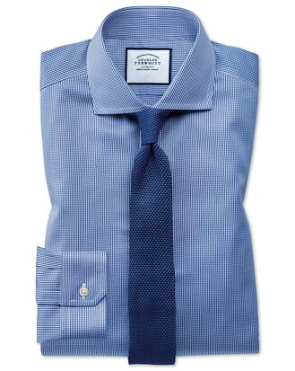 Super slim fit cutaway non-iron puppytooth royal blue shirt