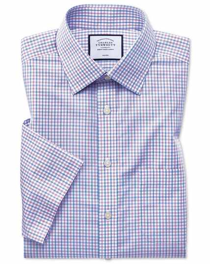 Non-Iron Tyrwhitt Cool Poplin Short Sleeve Check Shirt - Lilac And Sky Blue