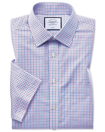 Slim fit non-iron Tyrwhitt Cool poplin short sleeve lilac and sky blue check shirt