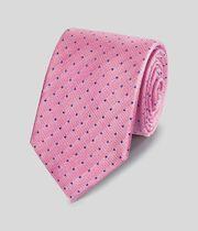 Schmutzabweisende klassische Krawatte aus Seide mit Punkten - Rosa & Blau