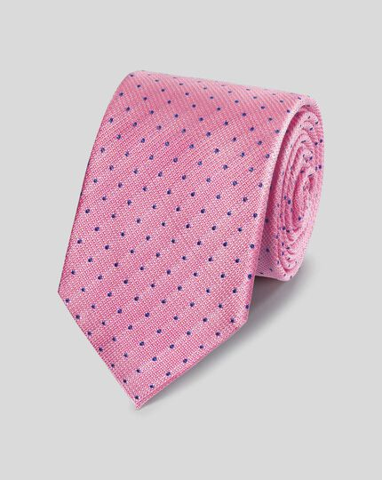 Stain Resistant Silk Textured Spot Classic Tie - Pink & Blue