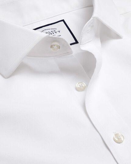 Spread Collar Non-Iron Poplin Shirt  - White