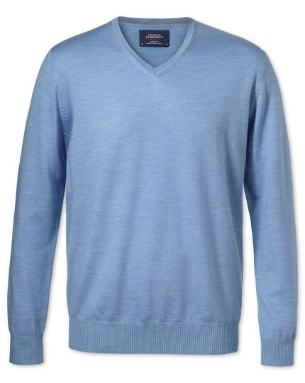 Sky merino wool v-neck jumper