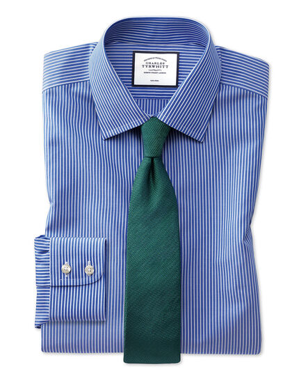 Extra slim fit non-iron stripe blue and white shirt