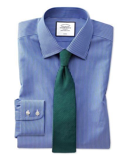 Extra slim fit non-iron mid-blue stripe shirt
