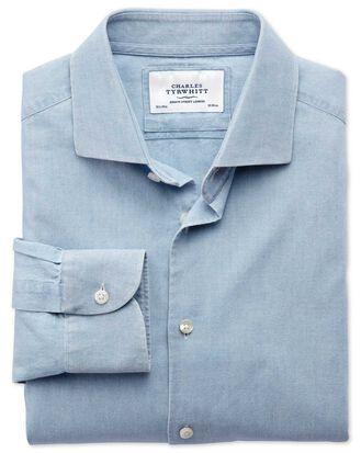 Slim fit semi-cutaway collar business casual chambray denim blue shirt