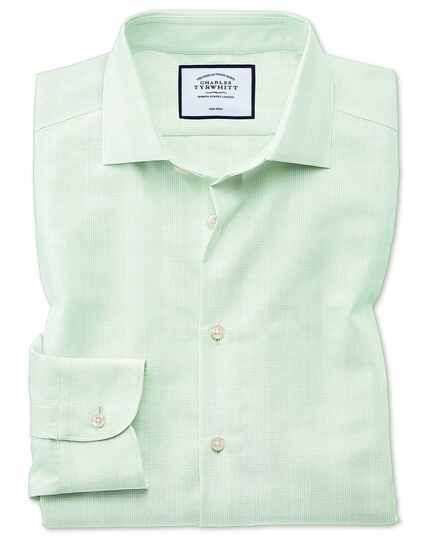 Classic fit business casual non-iron green check shirt