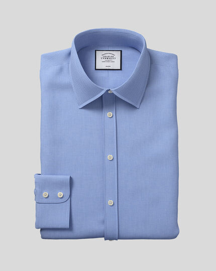 Classic Collar Non-Iron Mini Herringbone Shirt - Blue