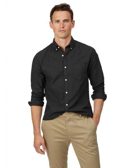 Extra slim fit button-down washed Oxford charcoal shirt
