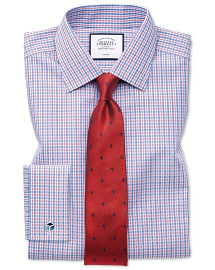 Red and navy stain resistant Fleur-de-Lys classic tie