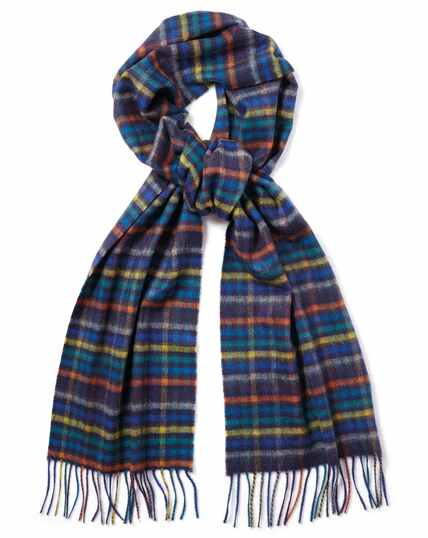 Multicoloured check cashmere scarf
