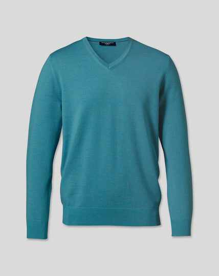 Merino V-Neck Jumper - Teal Melange