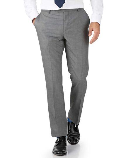 Silver slim fit British Panama luxury suit trousers