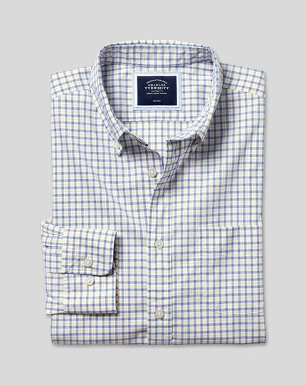 Button-Down Collar Non-Iron Stretch Poplin Check Shirt - Yellow & Blue