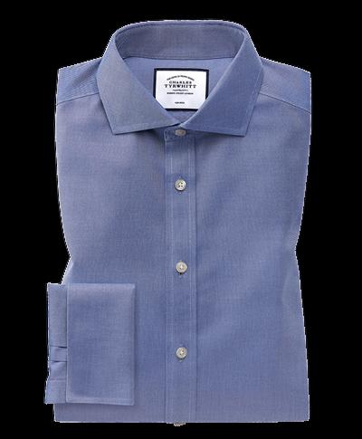 Slim fit spread collar non-iron twill mid blue shirt