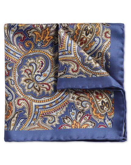 Royal and gold classic printed ornate paisley pocket square
