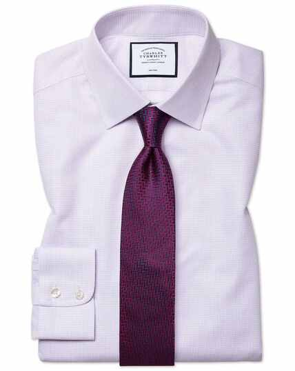 Slim fit non-iron dash weave lilac shirt