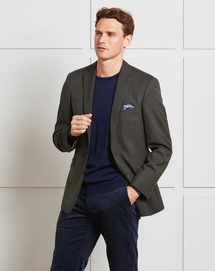 Green slim fit merino business suit jacket