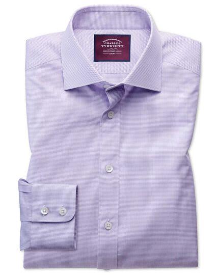 Classic fit semi-cutaway luxury poplin lilac and white shirt