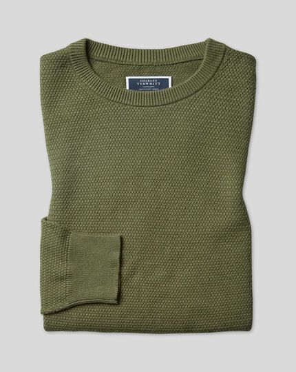Cotton Crew Neck Sweater - Olive