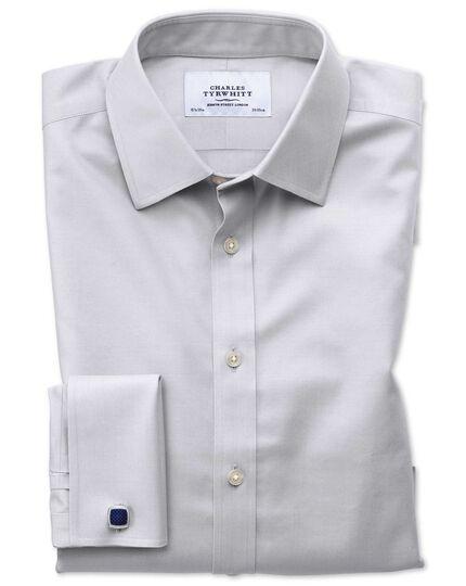 Bügelfreies Extra Slim Fit Twill-Hemd in Grau