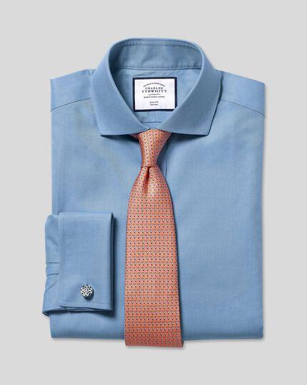 Spread Collar Non-Iron Twill Shirt - Blue