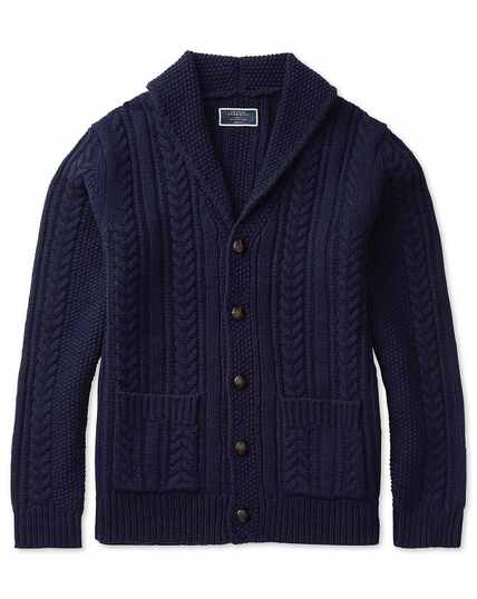 Navy chunky cable lambswool shawl neck cardigan