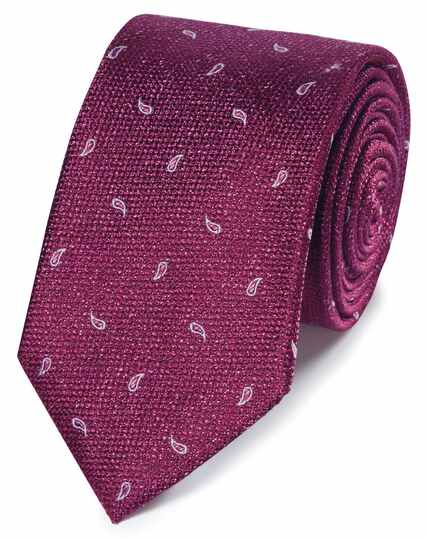 Magenta paisley classic tie