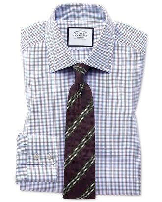 Slim fit purple multi check Egyptian cotton shirt