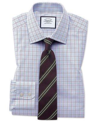 Slim Fit Hemd aus ägyptischer Baumwolle mit buntem Karomuster in Violett