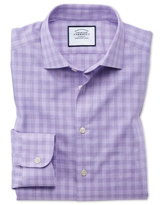 Classic fit business casual Egyptian cotton slub lilac check shirt