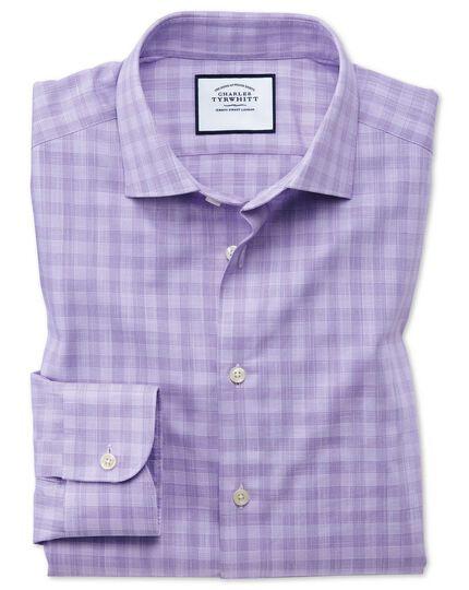 Business-Casual Slim Fit Hemd aus ägyptische Slub-Baumwolle mit Karos in Lila