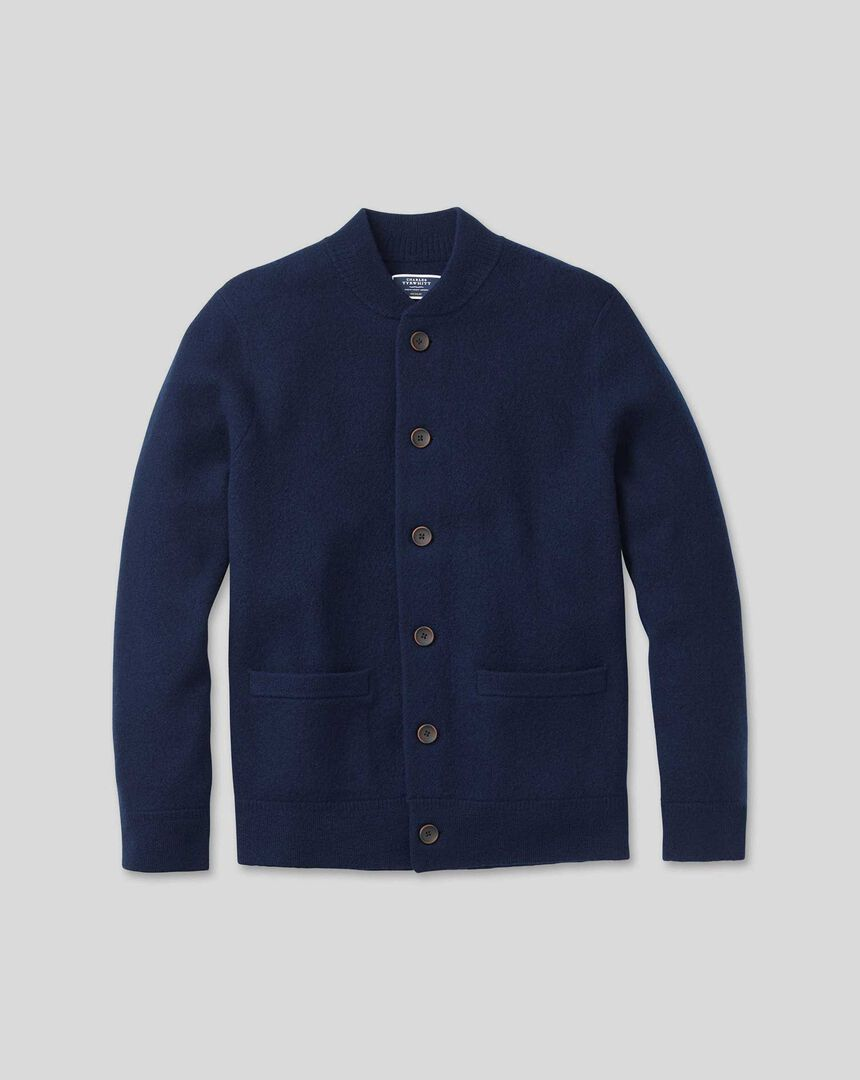 Brushed Wool Bomber Jacket - Blue