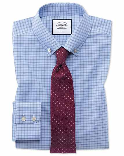 Slim fit non-iron button-down sky blue check shirt