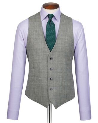 Grey adjutsable fit Prince of Wales check flannel business suit vest
