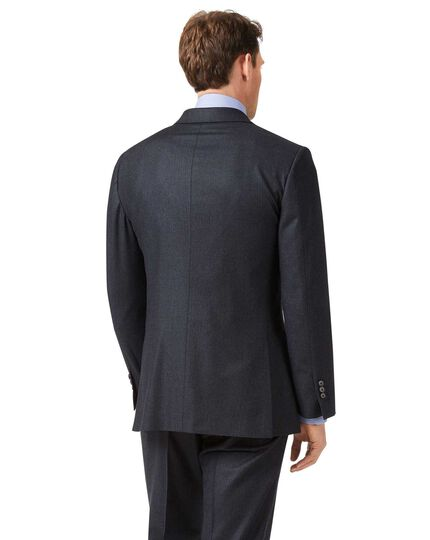 Charcoal and blue classic fit stripe flannel suit jacket