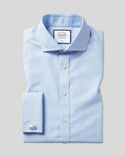 Chemise à rayures Bengale et col cutaway sans repassage - Bleu ciel