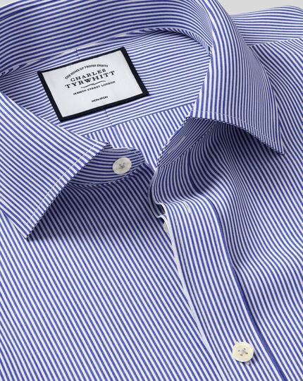 Chemise bleu marine à rayures Bengale slim fit sans repassage