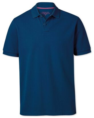 Classic fit blue pique polo