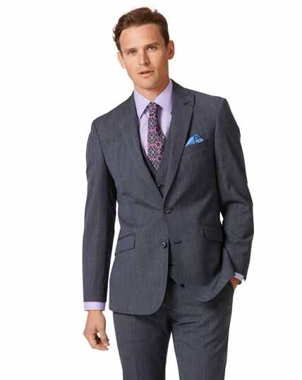 Airforce blue check slim fit twist business suit jacket