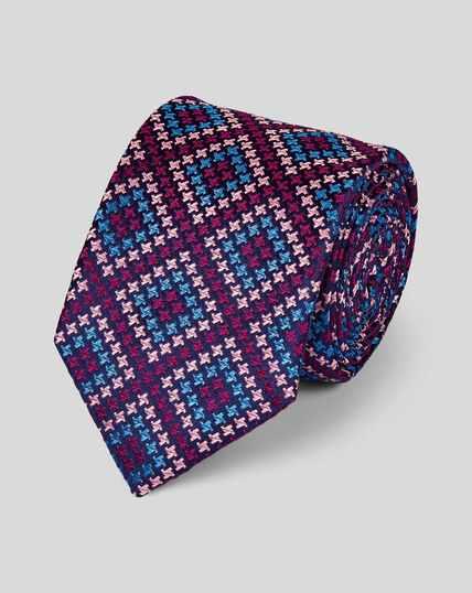 Cravate de luxe pied-de-poule en soie anglaise - Rose à motif
